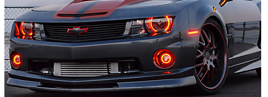 Chevy Camaro Halo headlights by oracle in red