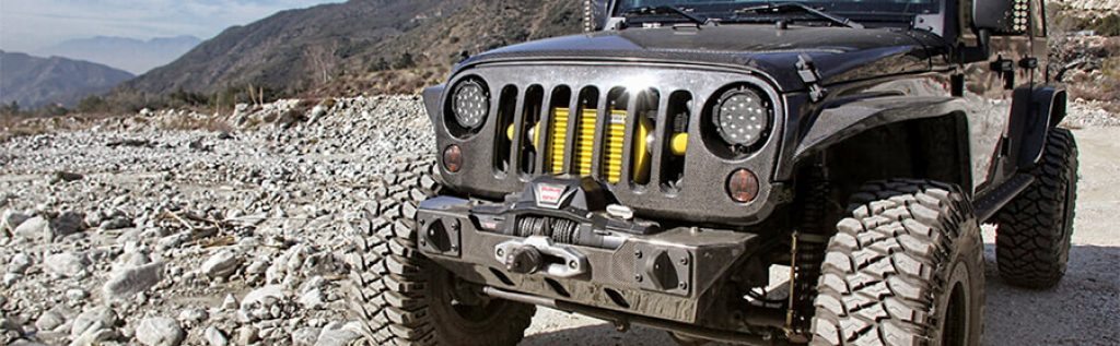 Custom headlights with LED strips on Jeep Wrangler