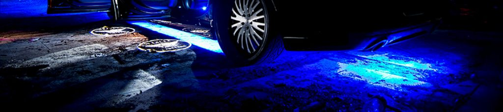 Led lights projected to the ground from interior of a Chrysler 300